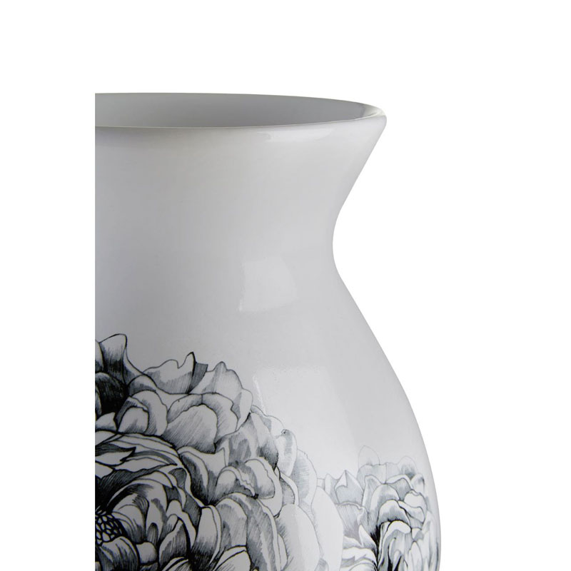 Bloom Vase,White / Black,Dolomite