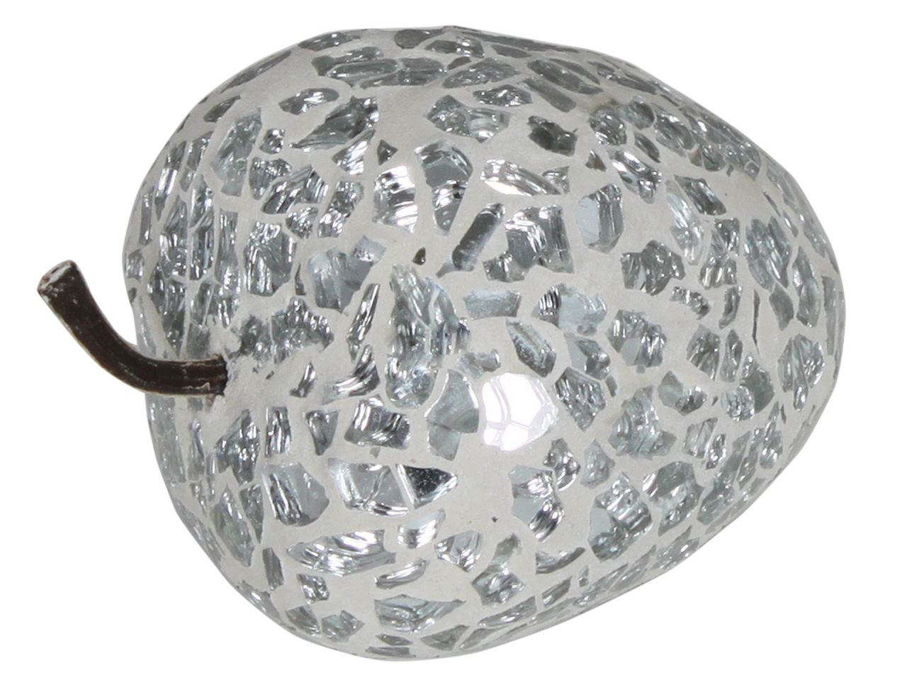 Silver Sparkle Mosaic Strawberry Decoration With Stem