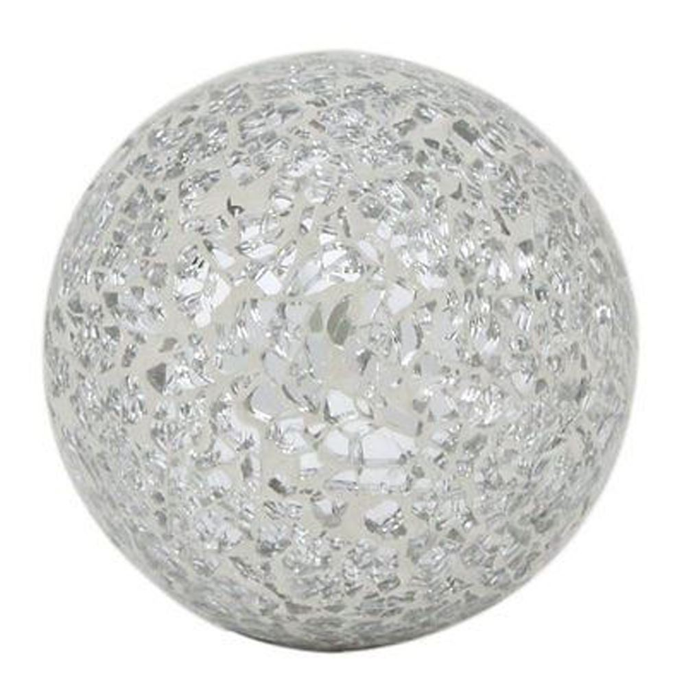 Silver Sparkle Mosaic Small Decorative Ball Round