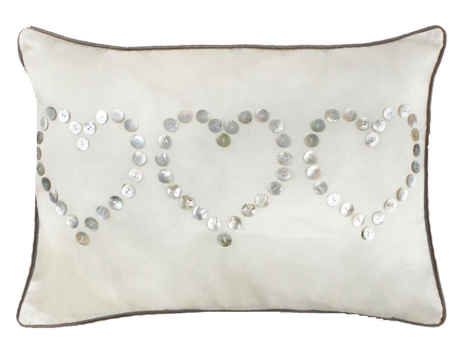 Beautiful Ivory Cushion With Three Mother of Pearl Button Hearts