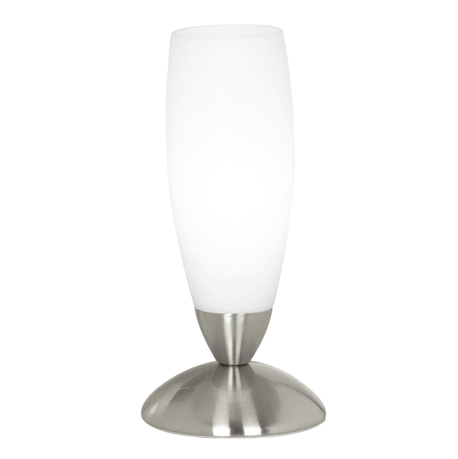 Slim Table Lamp 1 Light Satin Nickel Glass White Shade
