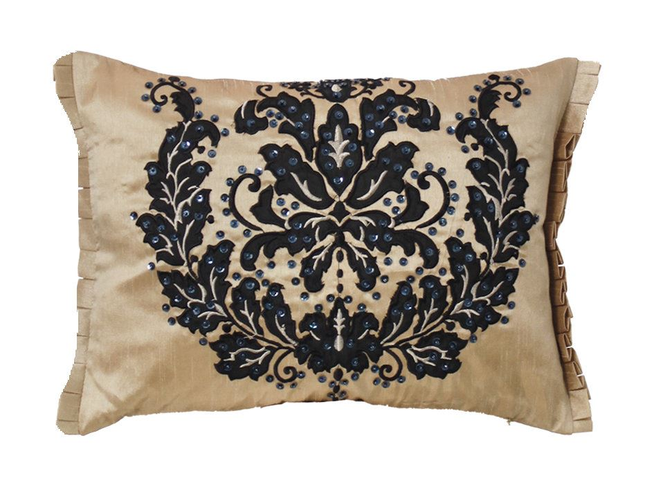 Gold Flock And Sequin Cushion Embroidered Design