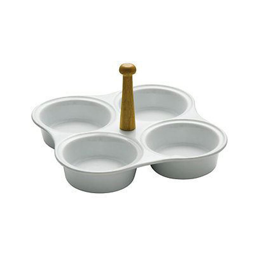 Snack Dish,4 Section White Ceramic,Bamboo Handle