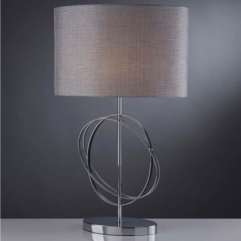 Table Lamp Chrome Rings With Silver Drum Shade/Contemporary And Chic