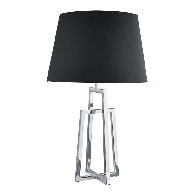 Attractive Design Table Lamp Crossed Frame & Chrome Finish With Black Tapered Shade
