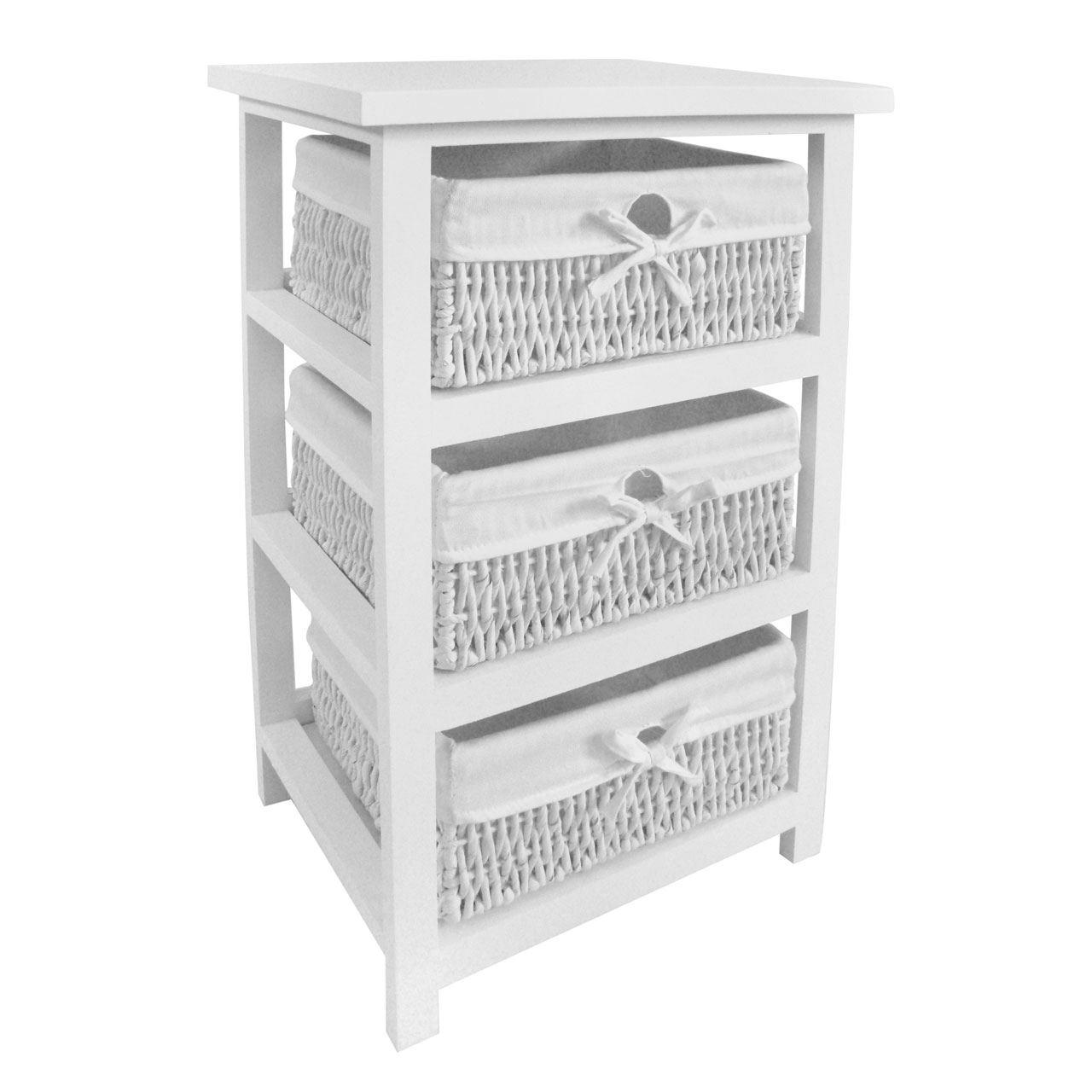 White Storage Unit,3 Maize Baskets With Cotton Liners,Paulownia Wood