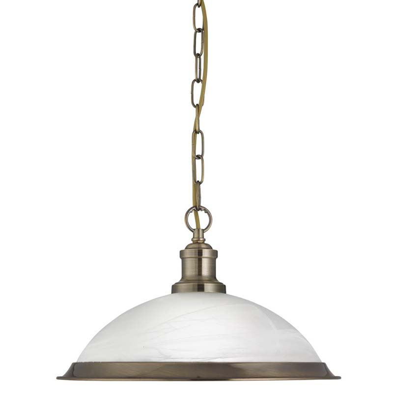 Light Industrial Pendant Antique Brass, Marble Glass Shade