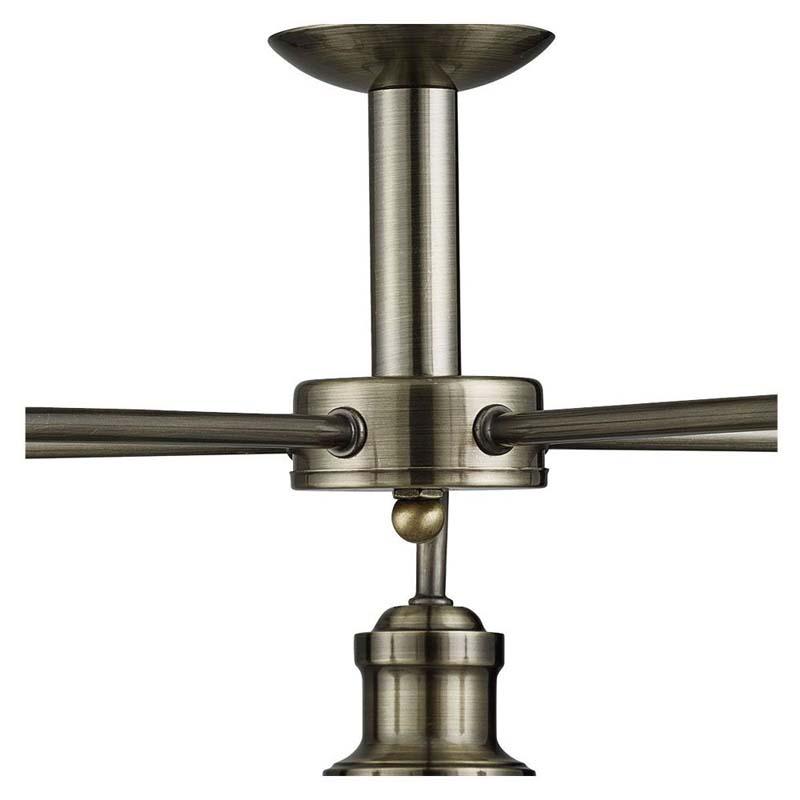 Bistro 5 Light Industrial Ceiling, Antique Brass, Marble Glass Shade, Antique Brass Trim