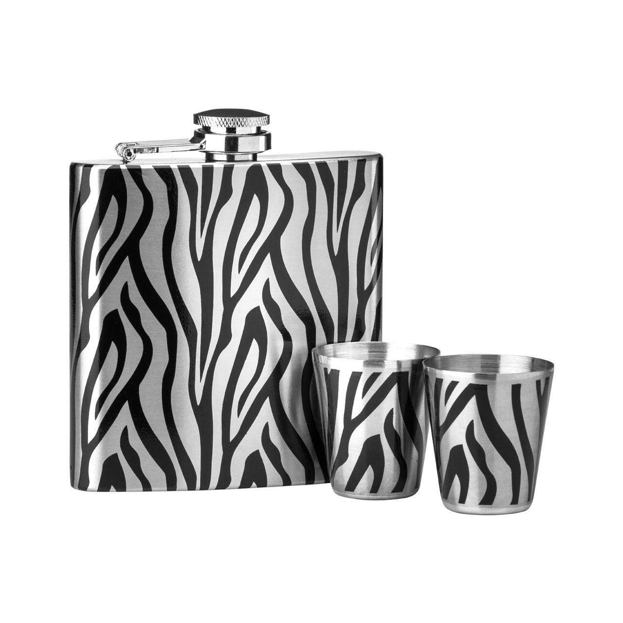 Hip Flask Set,Zebra Design/Stainless Steel,6Oz Flask/2 Cups