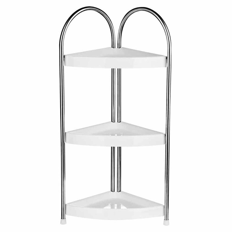 Corner Storage Unit,3 Tier,White Pp/Stainless Steel Frame