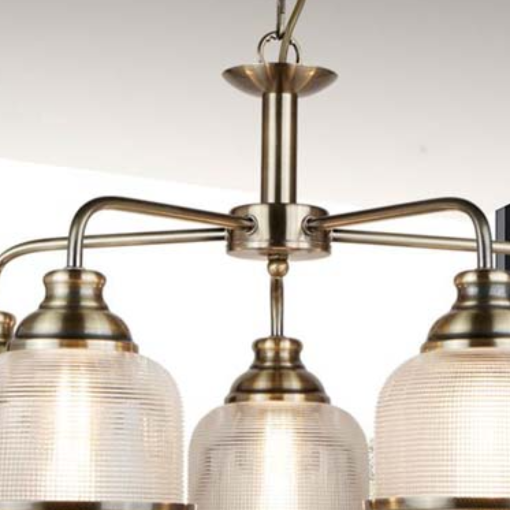 Bistro Metal 5 Light, Antique Brass Glass Shade Pendant Light  With Contemporary Style, Ideal For Living Room