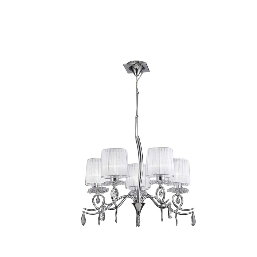 5 LED Bulb Multi Arm White Pendant Light In Chrome Clear Beads With Bell Shape & Baroque/Rococo Style - Living Room