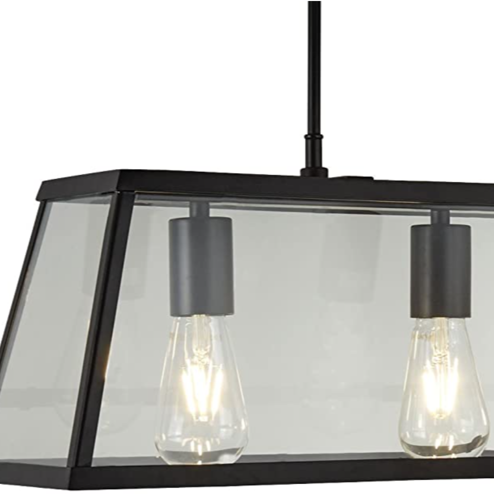 Contemporary Voyager Black With 3 Light Incandescent Warm White Lantern, Metal & Rectangle Pendant Ideal For Dining Room