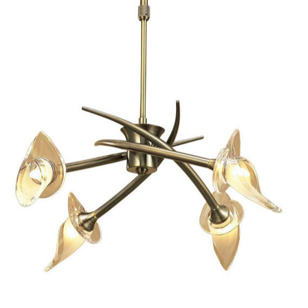Flower Shade Dimmable 4 LED Glass Semi Flush Ceiling Pendant Light, Finish Antique Brass & Edwardian Style Living Room