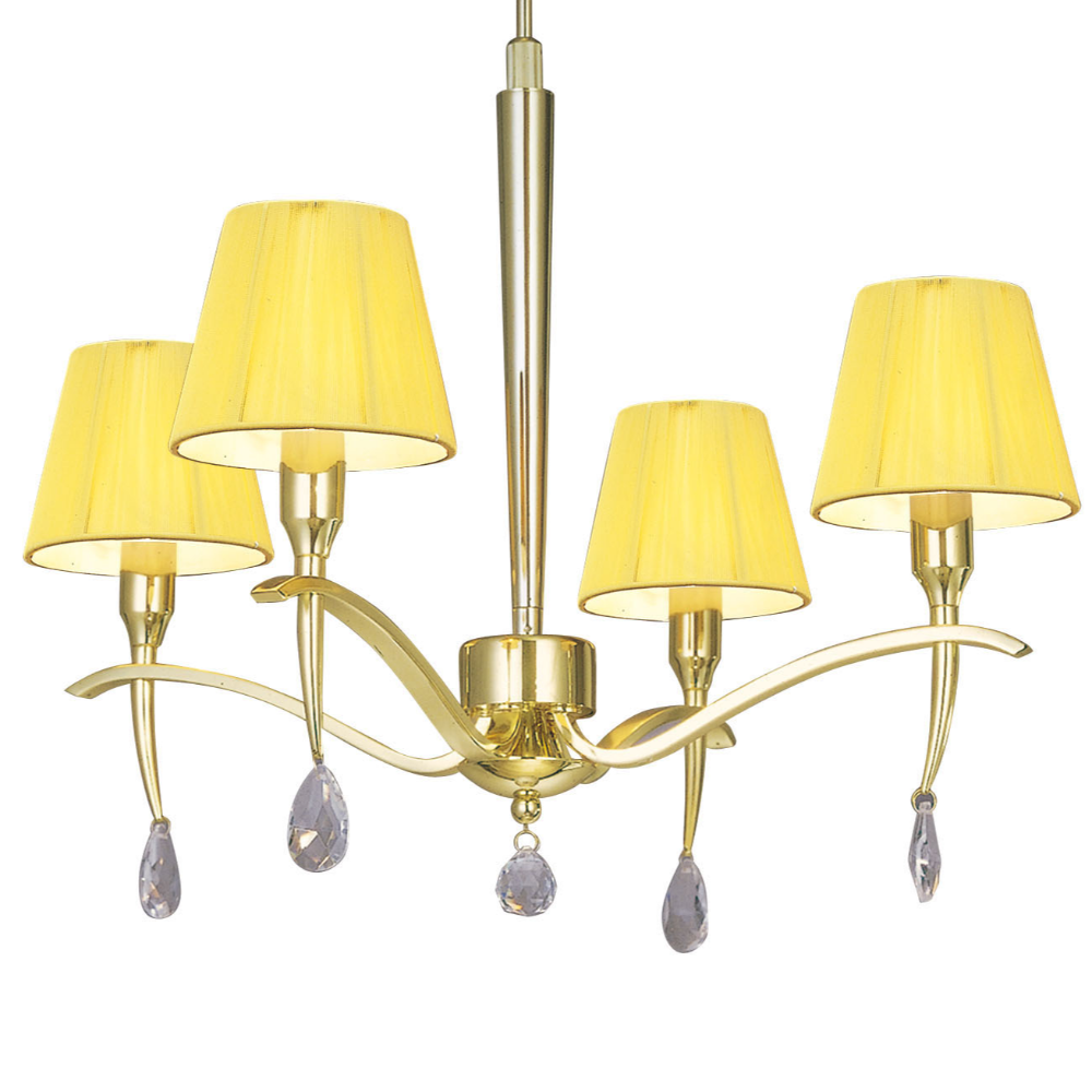 4 LED Bulb Iron Pendant Light In Polished Brass Finish With Silk Empire Shape, Baroque/Rococo Style For Living Room