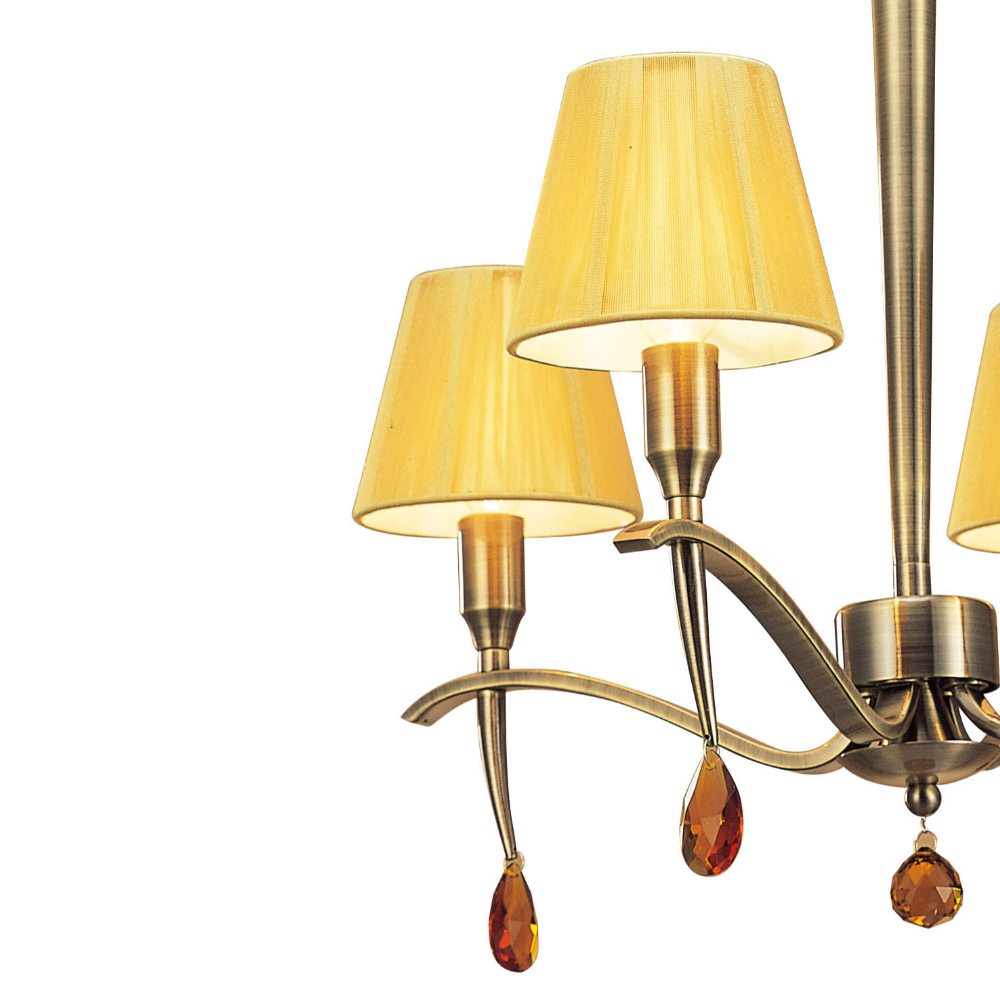 4 Halogen Bulb Multi Arm Iron Pendant Light In Empire Shape With Antique Brass Finish & Contemporary Style - Dining Room