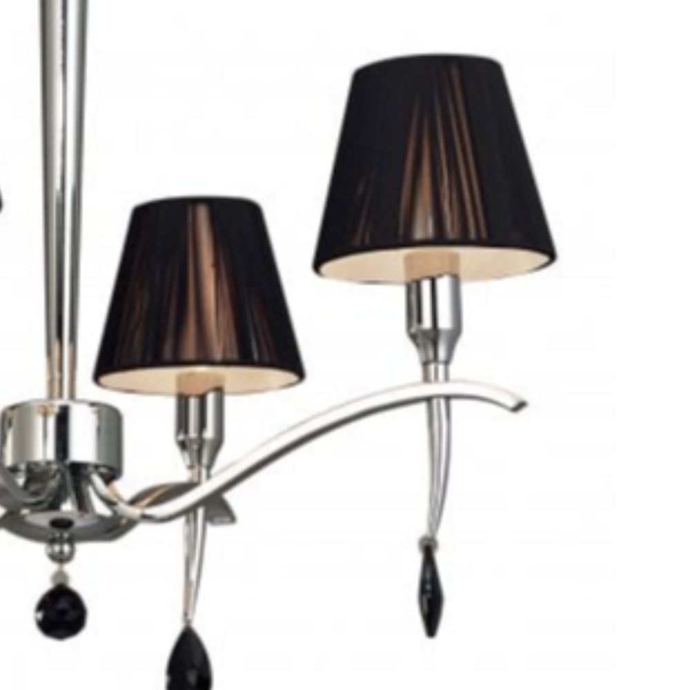 4 Led Bulb Polished Chrome Pendant Light With Black Clear Crystal In Empire Shape, Contemporary Style For Any Room