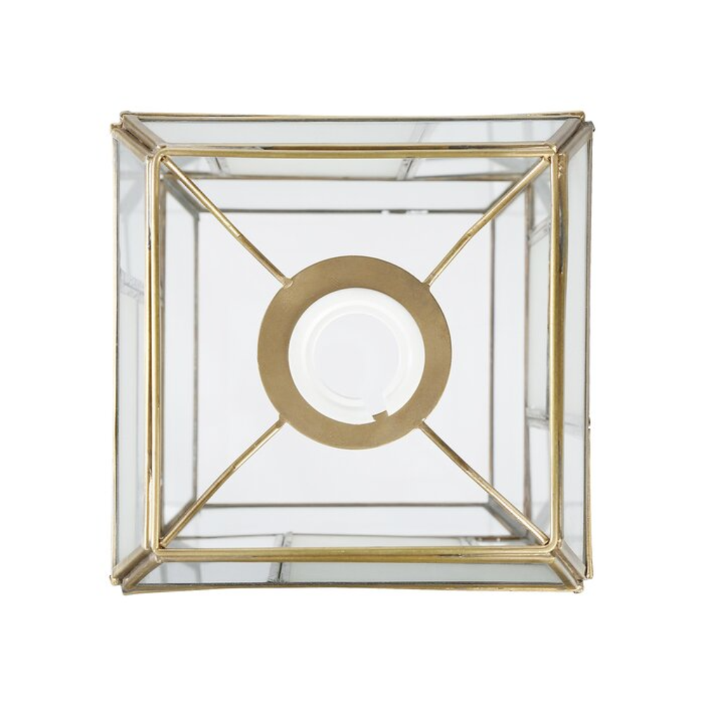 Chatsworth Asian/Oriental Metal Pendant & Clear Rectangle Shade, With Warm White 1 Light Incandescent For Bedroom