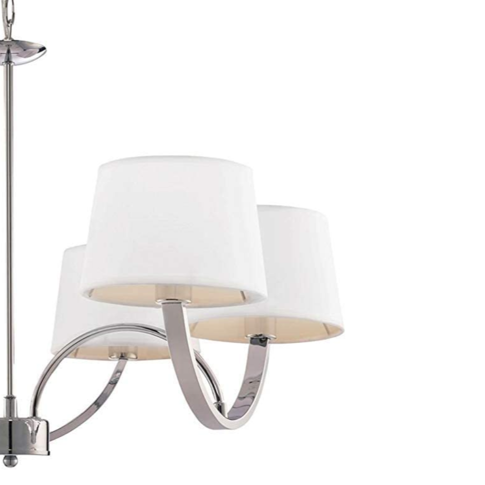 6 LED White Fabric Pendant Light With Polished Chrome Finish In Drum Shape & Vintage/Retro Style For Living Room