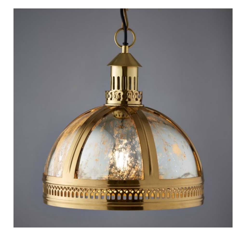 Vienna LED 1 Light Gold Cast Brass Pendant With Dome Shade - Suitable For Bedroom Decor