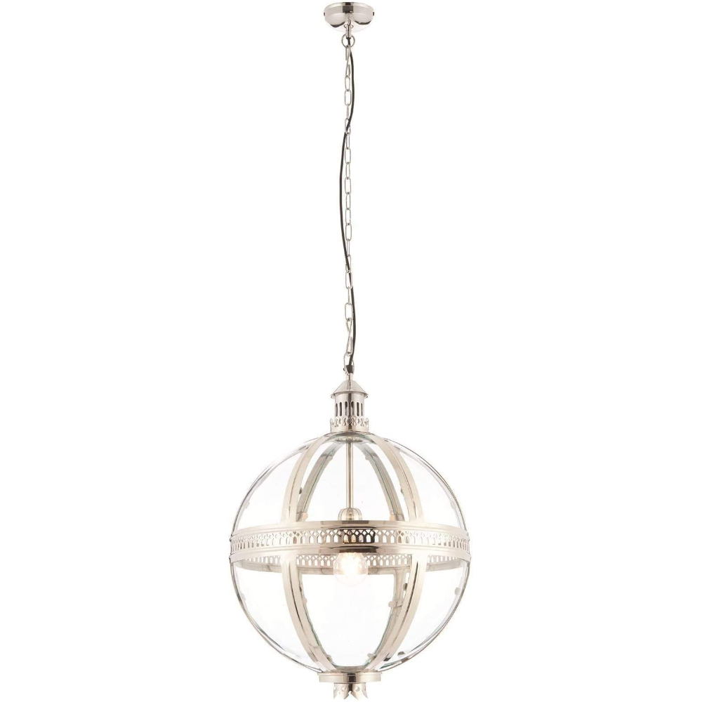 1 LED Bulb Round Shape Brass Ceiling Pendant Light In Bright Nickel Plate With & Colonial Style For Dining Room
