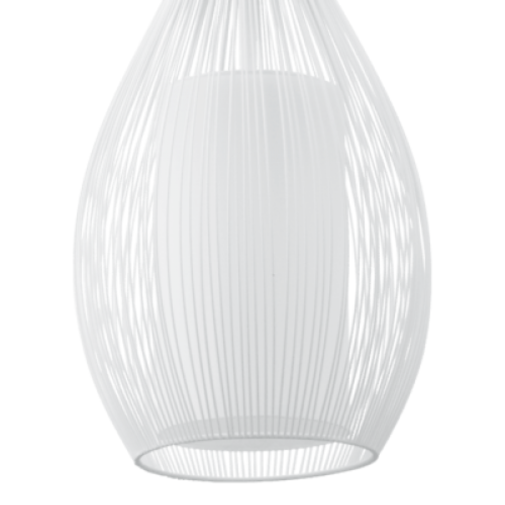 3 Incandescent Bulb Oval Shape Ceiling Pendant Light In White Steel Finish & Modern Style Ideal For Living Room