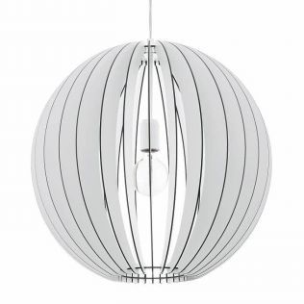 1 Incandescent Bulb Steel Hanging Pendant Light In White Wood Finish With Oval Shape For Living Room