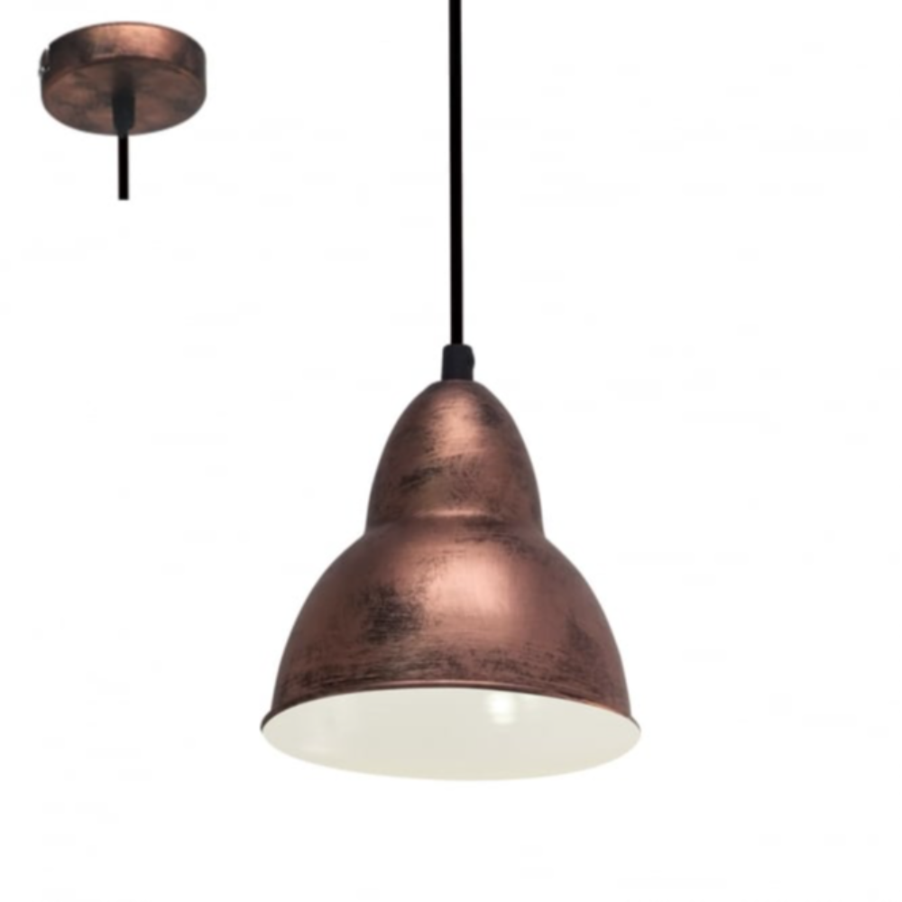 1-LED Bell Shape Ceiling Pendant Light E27 In Steel Copper Finish Style With Antique Style For Living Room