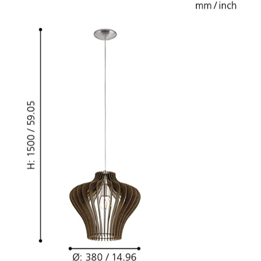 1 Halogen Bulb Ceiling Pendant Light With Satin Nickel Finish & Dark Brown Wood In Bell Shape Ideal For Living Room