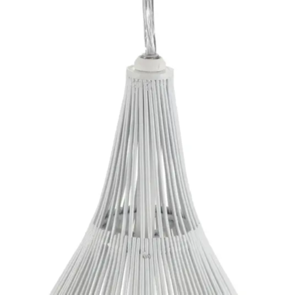 1 Incandescent Bulb White Steel Pendant Light With Oval Shape & Modern Style Ideal of Living Room