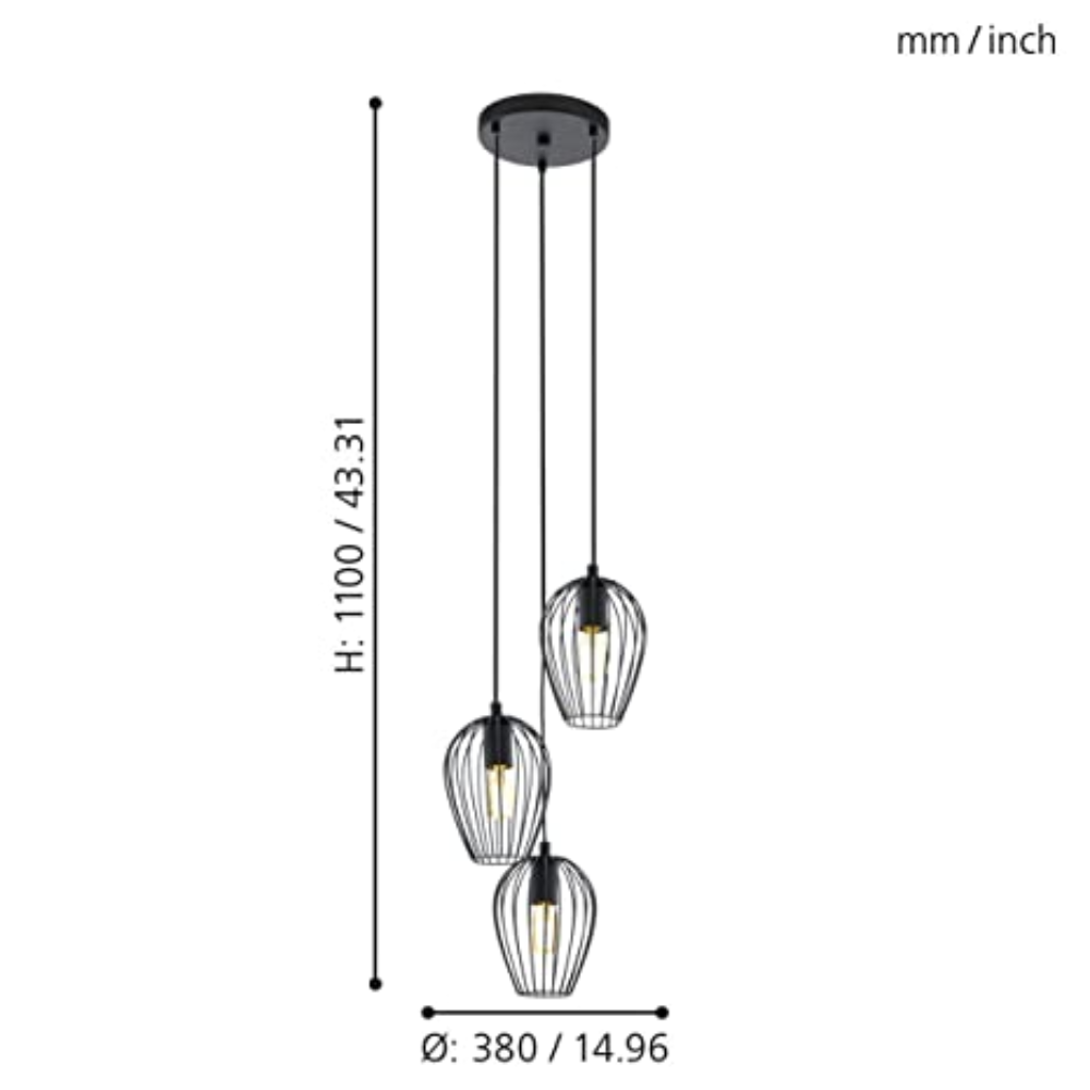3 Incandescent Bulb Steel Pendant Light In Black Cord Wire With Bell Shape, Smooth Style For Bedroom