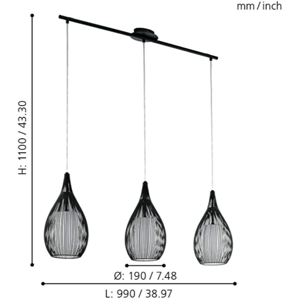3 LED Ceiling Pendant Light In Steel Black Finish With Scandinavian Style & Rose Shape For Any Room