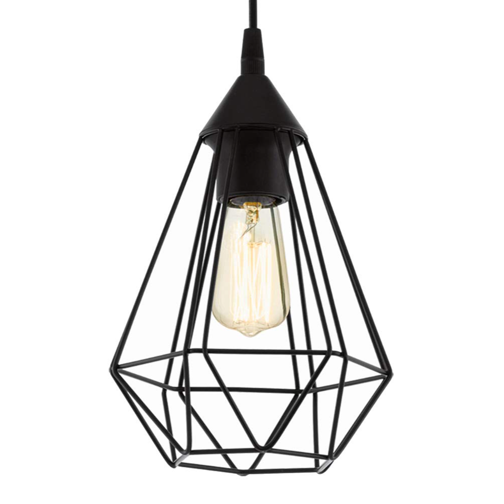 1 LED Small Cage Ceiling Pendant Light With Black Metal Finish In Star Shape and Vintage/Retro Style For Dining Room