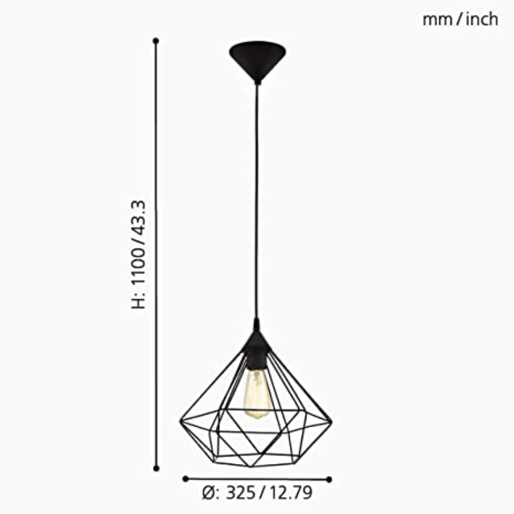 Vintage/Retro Style LED 1 Pendant Light Dome E27 With Metal Black Finish For Any Room