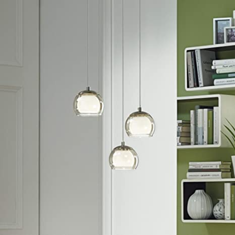 3 LED Steel White Ceiling Pendant Light With Satin Nickel Finish In Round Shape and Spiral Style For Bedroom