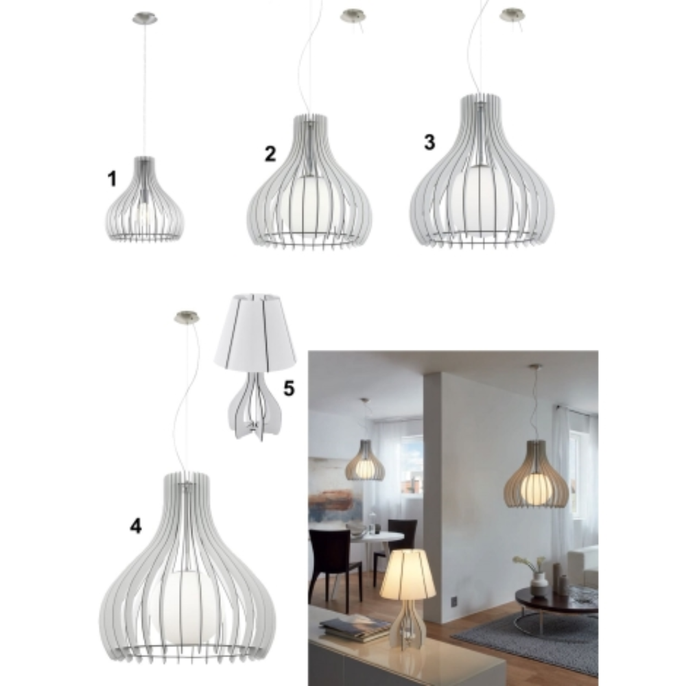 1 LED Bulb Wood White Pendant Light With Satin Nickel Finish In Art Nouveau Style & Dome Shape For Bedroom