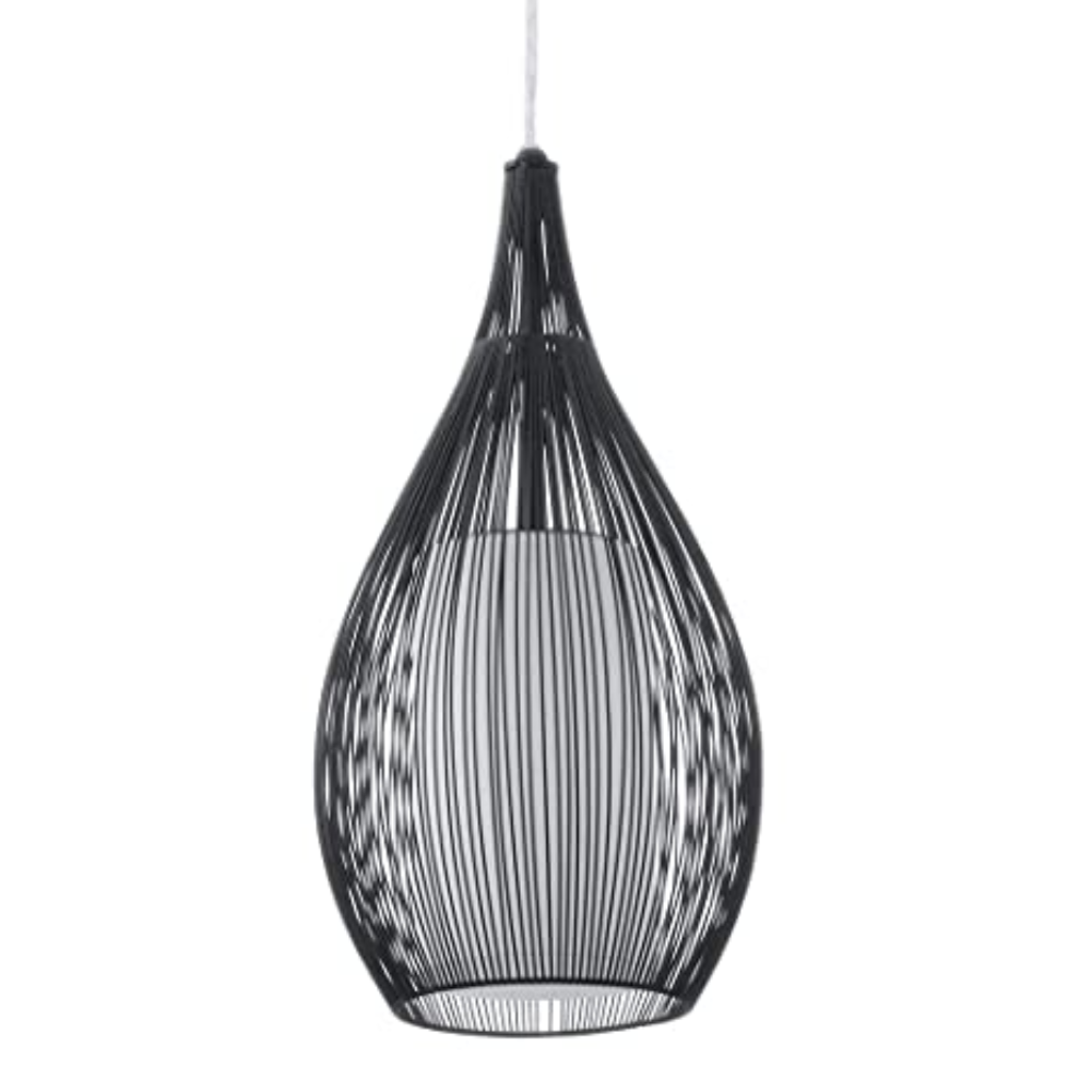 1 Black Steel Ceiling Pendant Light In Dimmable Incandescent Bulb With Oval Shape And Scandinavian Style For Bedroom