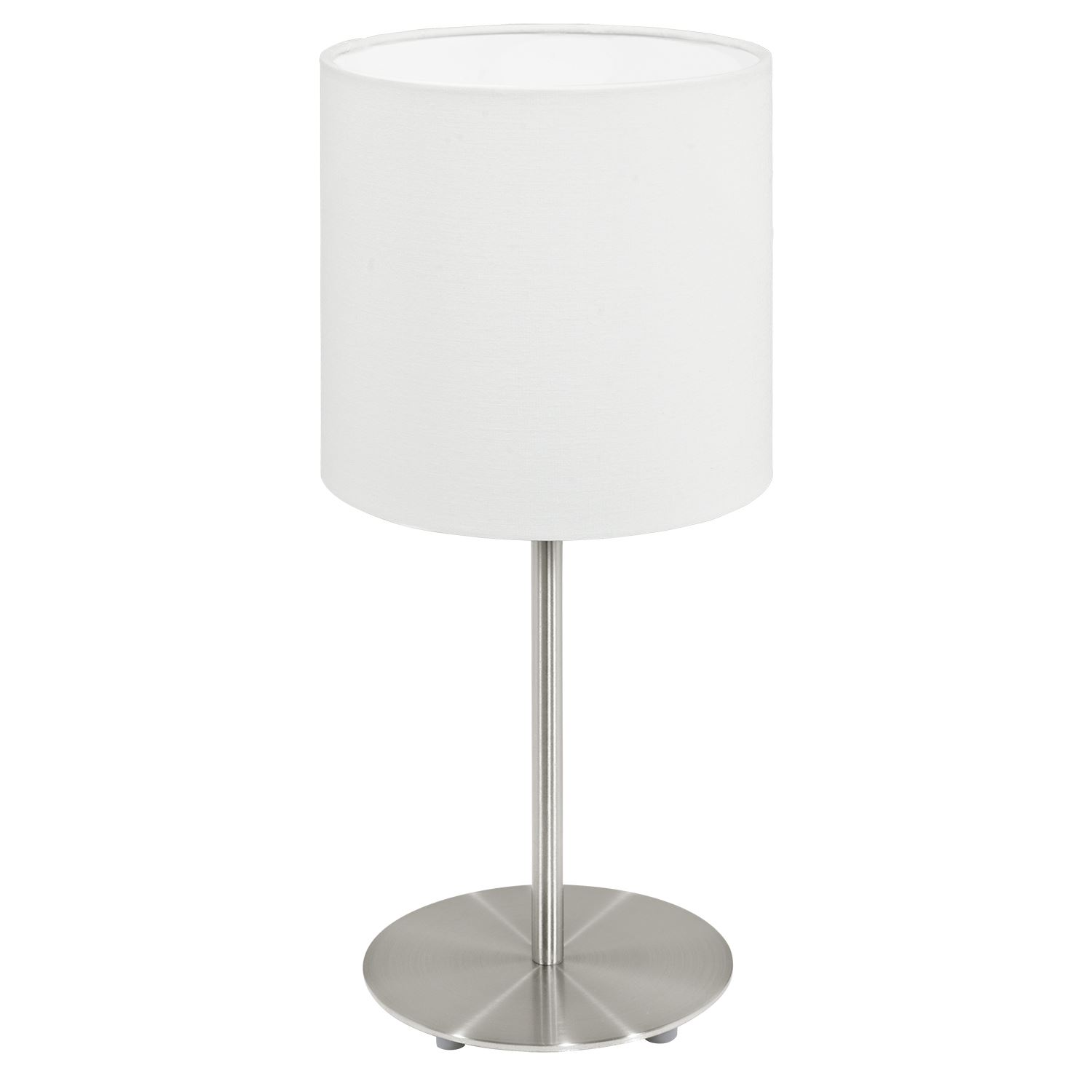Pasteri Steel Table Lamp 1 Light Satin Nickel Fabric White Shade