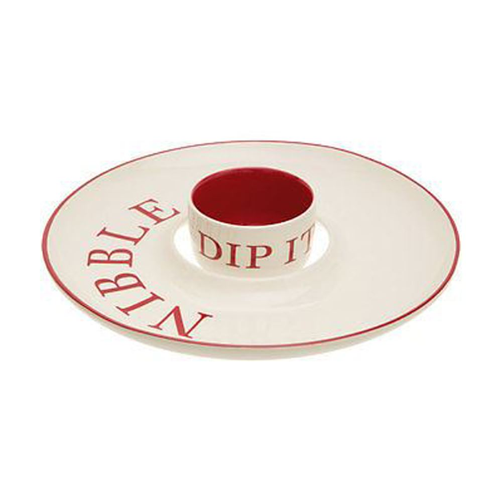 Hollywood Nibble And Dip Set,Stoneware,Red / Cream