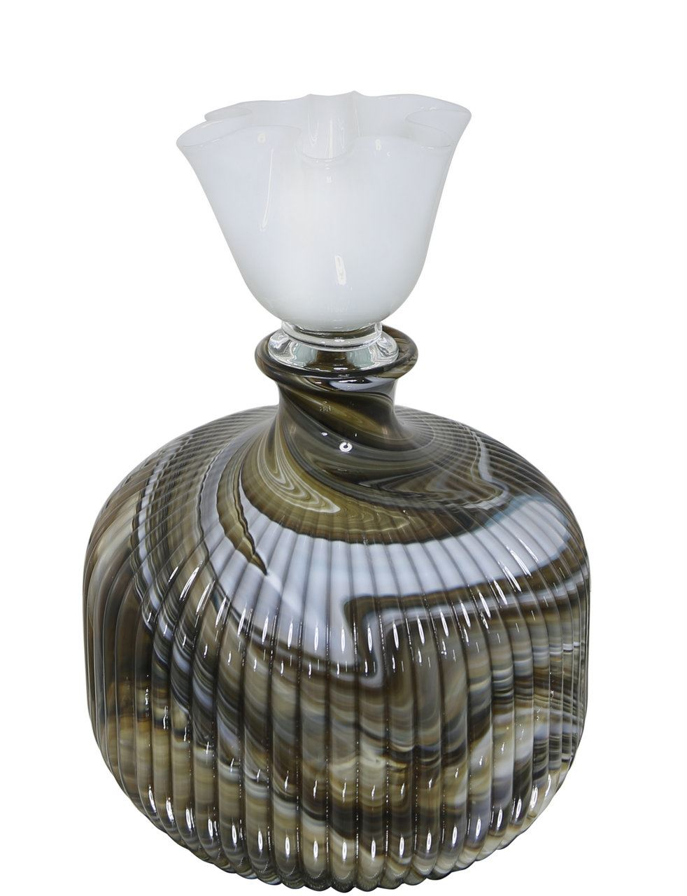 Brown Marble Decorative Glass Bottle With Lid