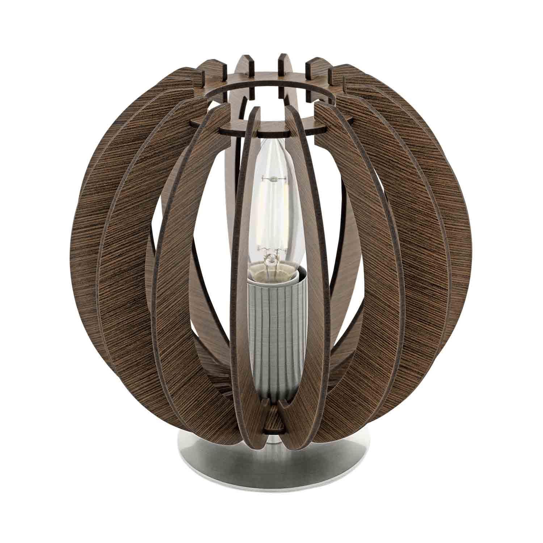 Cossano Steel Table Lamp 1 Light E14 Wood Dark Brown Shade