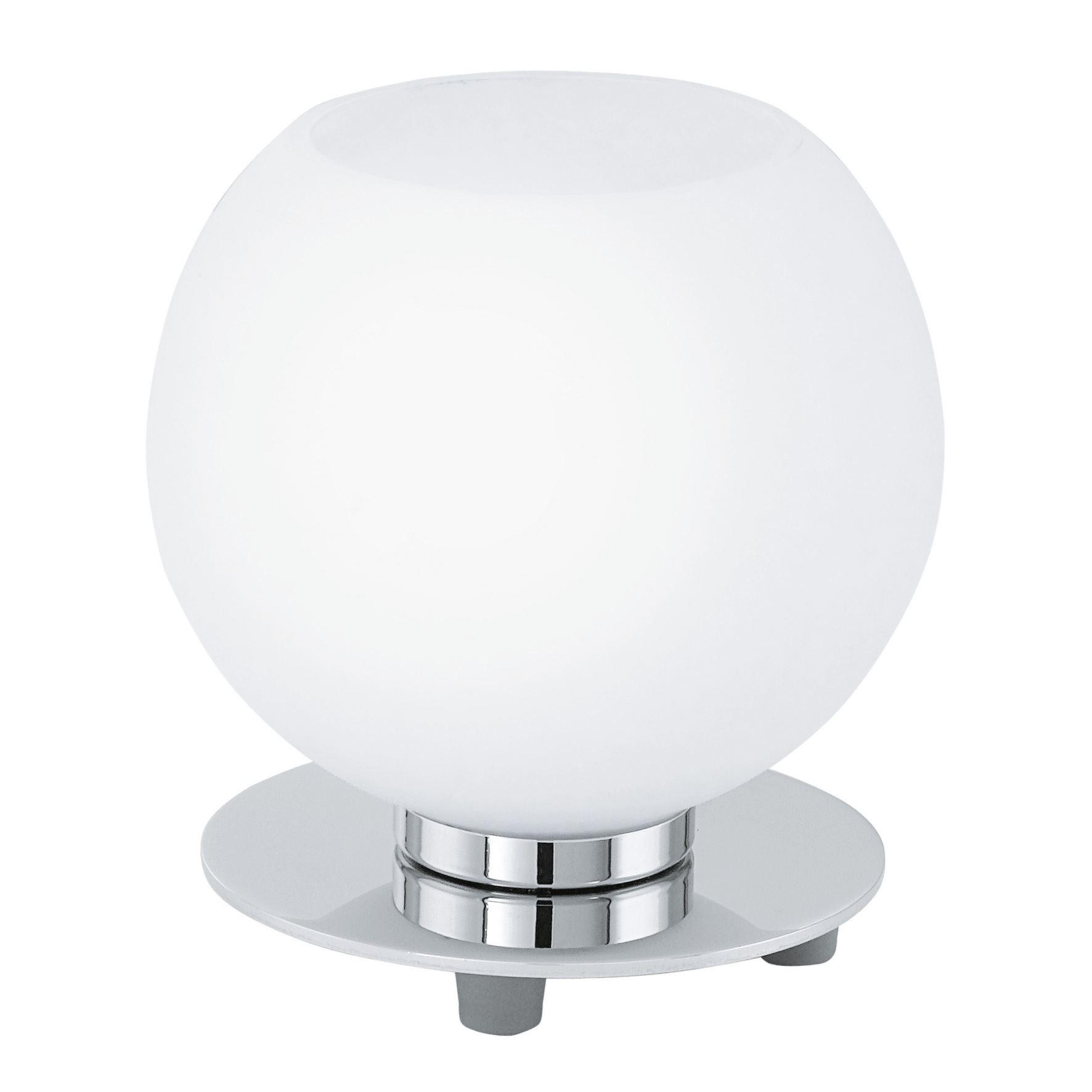 Buccino Table Lamp 1 Light E14 Chrome Opal Matt Shade