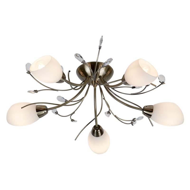 Gardenia 5 Light Antique Brass Semi Flush Fitting Crystal Leaf White Glass
