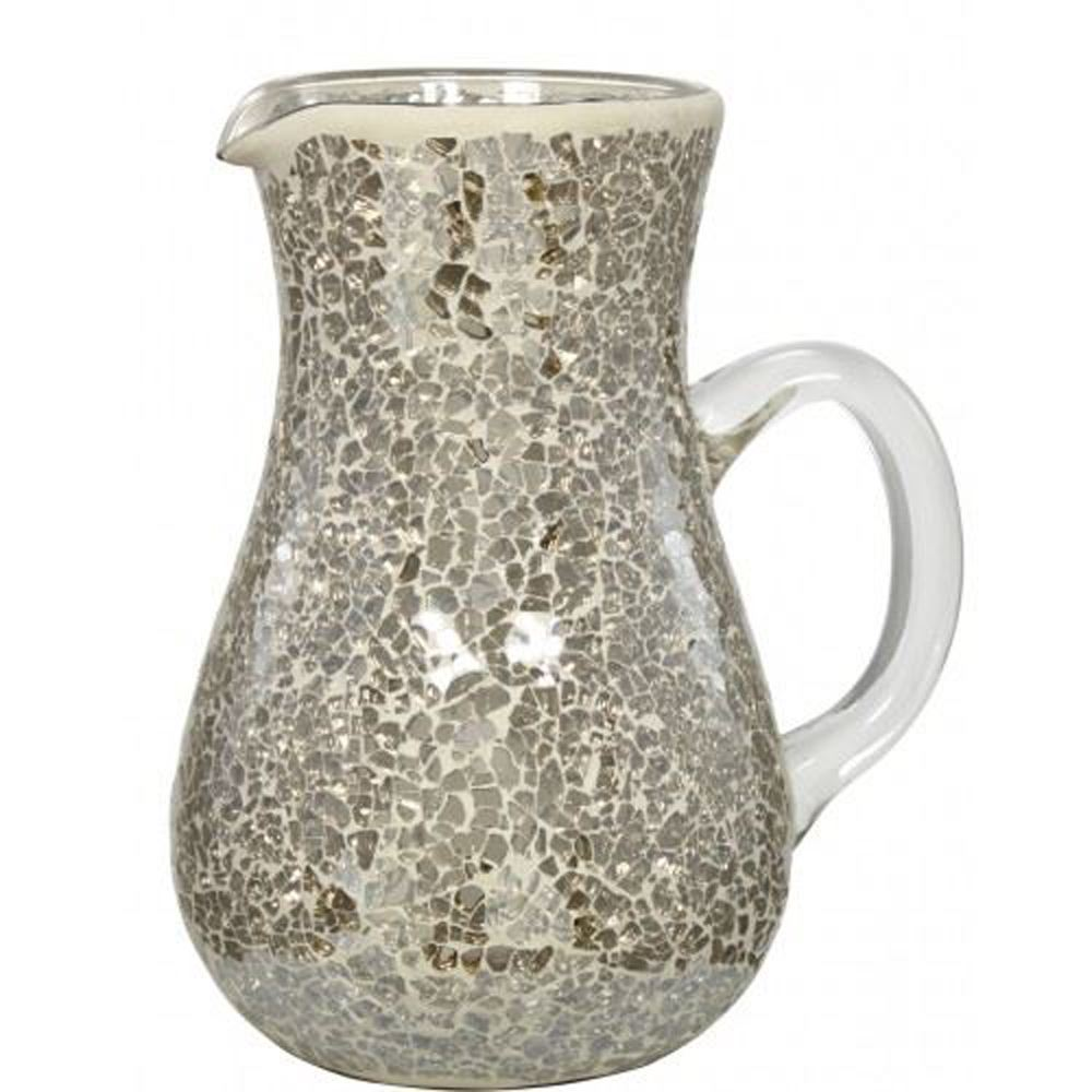Beautiful Mercury Mosaic Jug Vase With A Curved Glass Handle - 20.5 cm