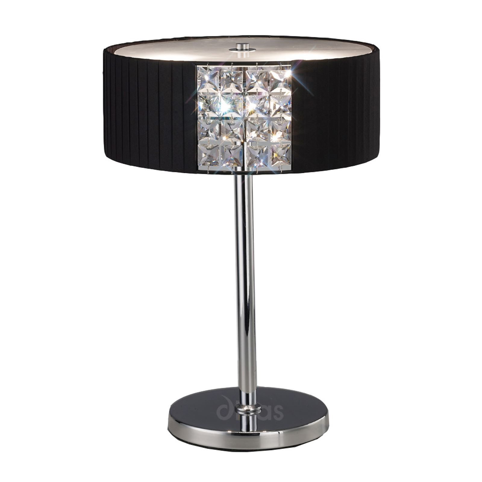 Round Crystal 2 Light Table Lamp With Black Shade - Contemporary Style