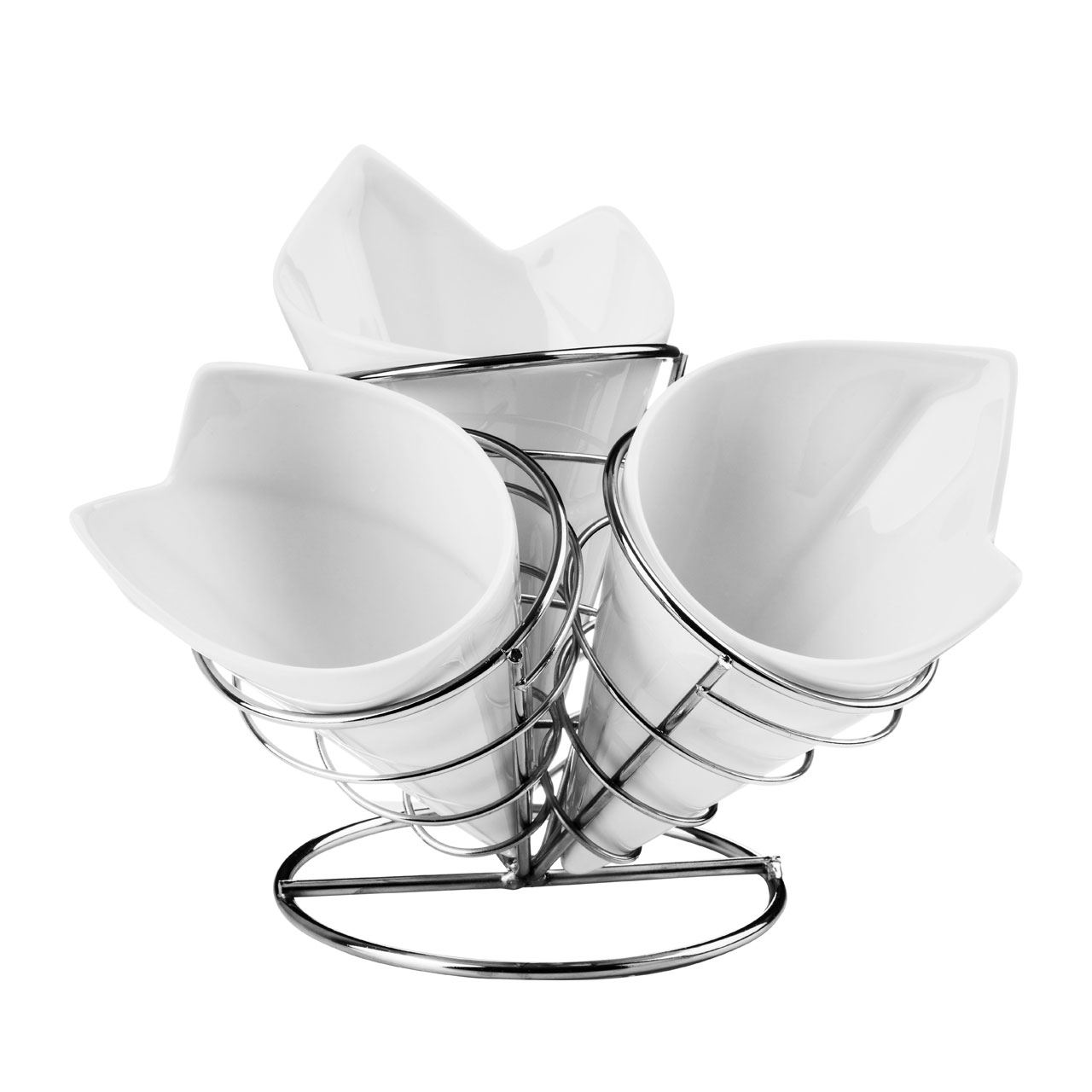 French Fry Cone Set,3 White Porcelain Cones,Chrome Finish Stand