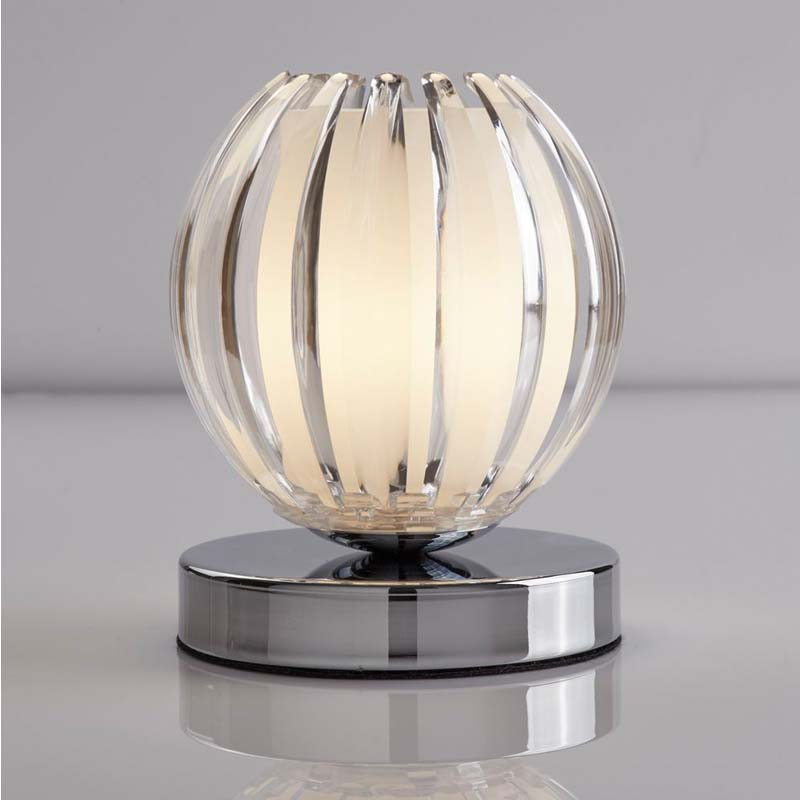 Touch Lamps - Metal Touch Chrome Table Lamp Clear Acrylic With Frosted Glass