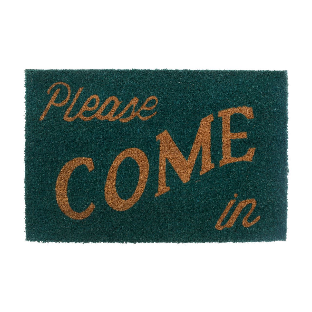 Please Come In Doormat,Coir/Pvc Backed,Green/Natural