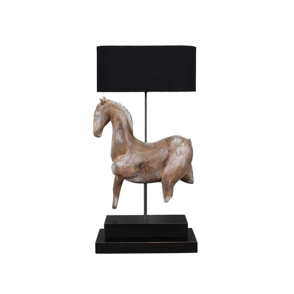 Unique Design Brown Wooden Horse Table Lamp With Black Shade