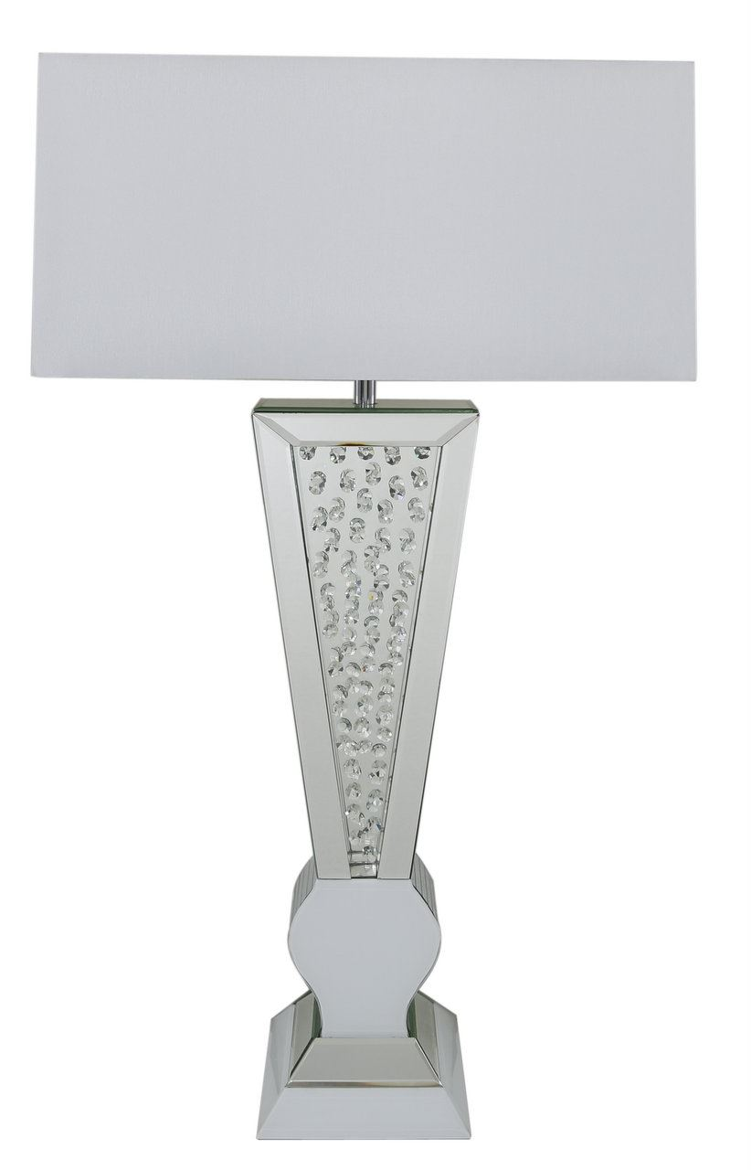 White Clear Mirror Diamond Crystal Table Lamps With White Fabric Shade - Big Living